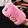 Kisscase glitter diamante slim case capa para iphone 6 6 s 5S sí 6 6 s 7 más brillante teléfono móvil de pelo de conejo de piel de invierno caliente cubierta