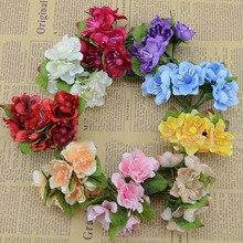 Искусственные цветы новые горячие хорошее Моделирование цветок сливы вишня персиковый шелк материал декоративное украшение для волос цветочные гирлянды dyi