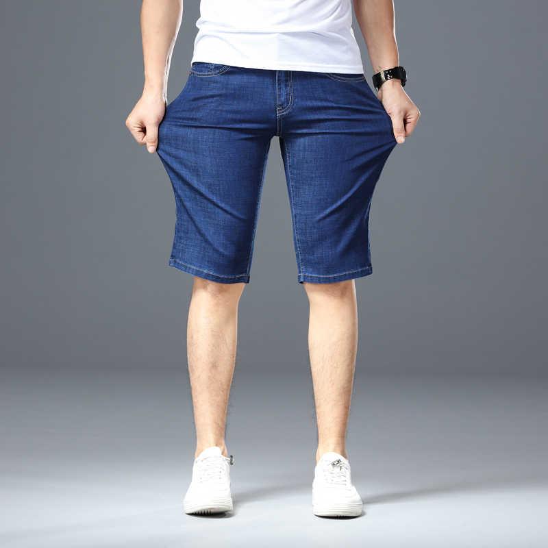 2019new Sommer Stretch Dünne Hohe Qualität Baumwolle Denim Jeans Männliche Kurze Männer Blau Schwarz Soft Mode Lässig Shorts Hosen Plus größe