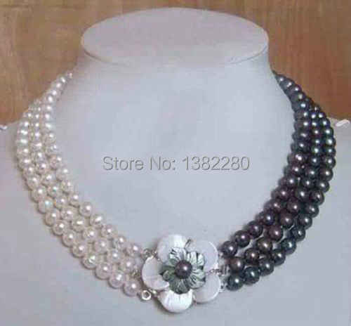 3Row white&black pearl necklace shell flower clasp 17-19inch DIY popular women jewelry making design