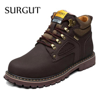 Super Warm Men S Winter Leather Ankle Boot Men Waterproof Rubber Snow Boots Leisure Martin Boots