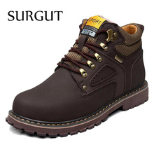 SURGUT Brand Super Warm Men's Winter Leather Men Waterproof Rubber Snow Boots Leisure Boots England Retro Shoes For Men Big Size