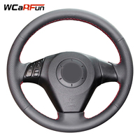 WCaRFun Customized Name Hand Stitched Black Artificial Leather Steering Wheel Cover For Old Mazda 3 Mazda