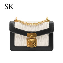 SK 2019 Designer Bags Famous Brand Women Handbag Genuine Leather Ladies Luxury Flap Bags Shoulder Messenger Bag for Womens bolsa fashion designer flap lady brand women shoulder bag chains swallow lock messenger bags genuine leather handbag original quality
