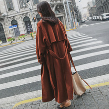 2019 Autumn Winter New Korean Version Extra Long Over Ankle Woolen Coat Women Coats Winter Long Fashion Wool Jackets Women new women long coat and jacket autumn winter elegant women wool coats long jackets korean version slim trench coat with straps