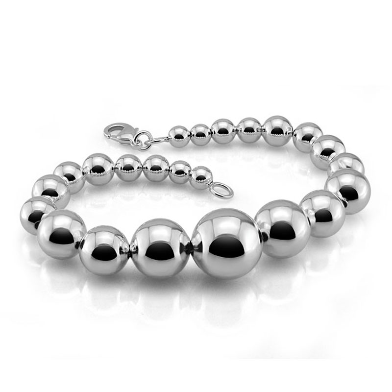 Solid 925 Sterling Silver Woman Bracelet Wholesale Brand Sterling Silver Jewelry Gifts Providing Amenities For The People; Making Life Easier For The Population Reliable Fashion Simple Silver Ball Bracelet