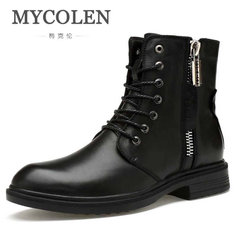 MYCOLEN Brand Men'S Boots Luxury Fashion Leather Winter Warm Shoes Motorcycle Mens Ankle Boot Winter Men Bota Masculina Couro