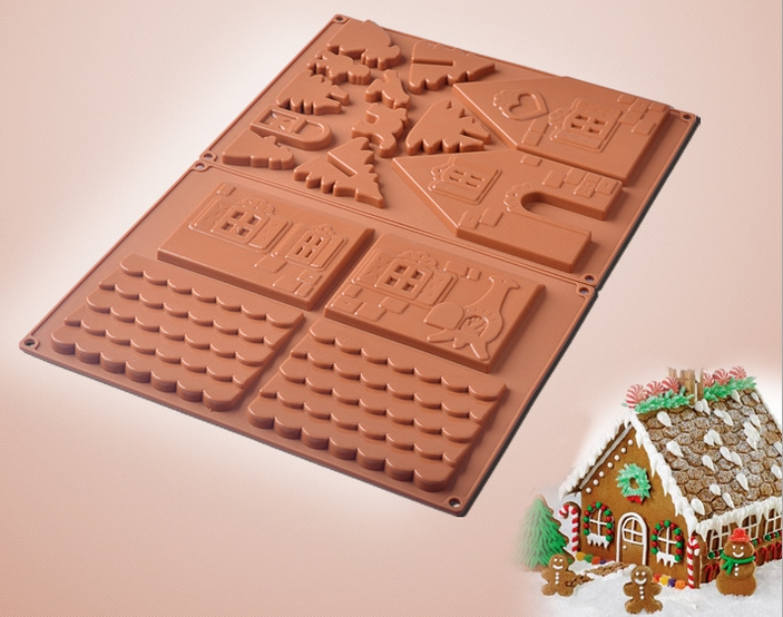 Us 5 85 10 Off 2pcs Silicone 3d Gingerbread And Chocolate House Mold For Christmas Tree Decorating Lovely Couple Cookie Cake Bakeware Mould In