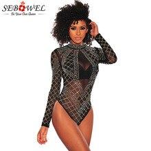 SEBOWEL, черные стразы, Шипованная сетка, длинный рукав, боди для женщин, весна-осень, сексуальный стиль, Женский Топ