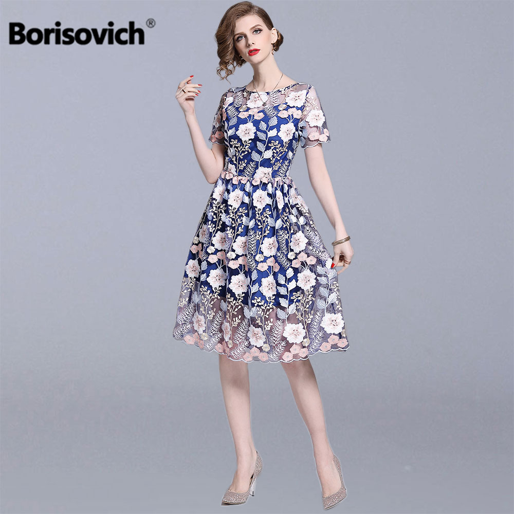Borisovich Women Summer Elegant A line Dress New 2019 Fashion Luxury Floral Embroidery Knee length Ladies