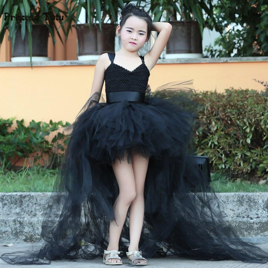 ФОТО Train Tail Girls Black Tutu Dress Baby Bridesmaid Flower Girl Wedding Dress Tulle Ball Gown Kids Halloween Evening Party Dresses