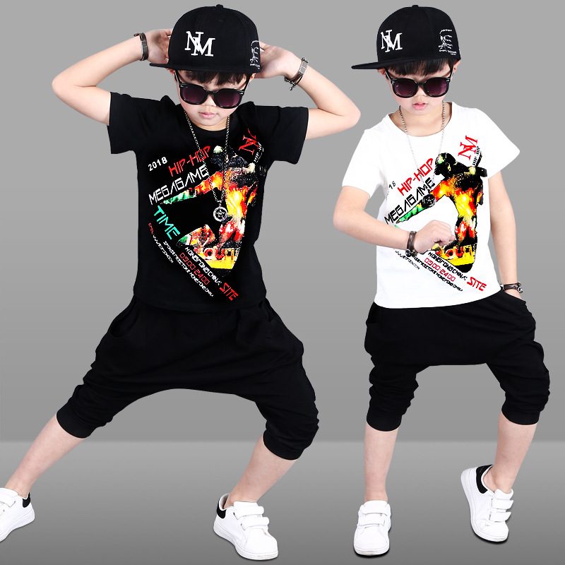 2018 Summer Children Sets Baby Clothes Boys Cartoon Kids Clothing Sets Hip Hop Toddler Boys Clothing Set Summer Baby Suit Shorts summer baby boys clothing set cotton animal print t shirt striped shorts sports suit children girls cartoon clothes kids outfit