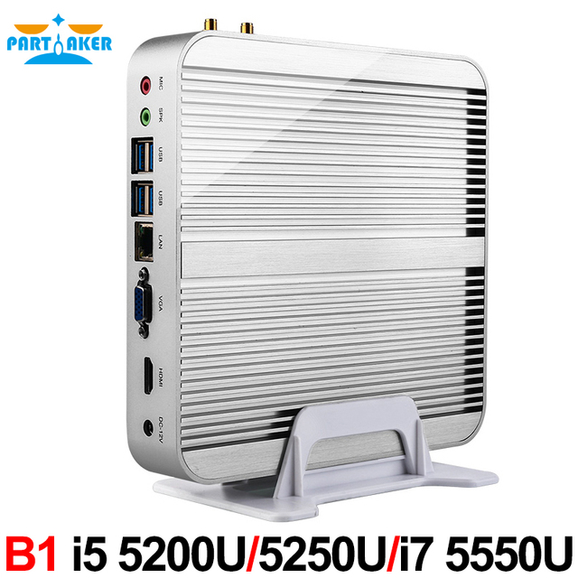 5th Gen CPU Broadwell Intel Core I3 4005u i5 4200u i7 4500u Fanless Barebone Mini PC Windows Linux HTPC Server
