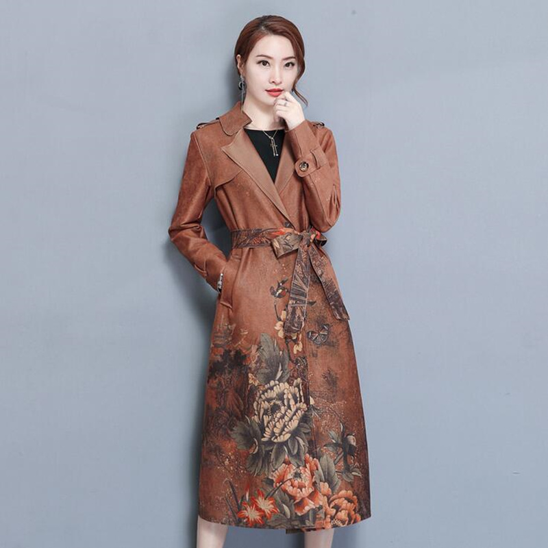 2018 new autumn floral print suede   trench   coat long sleeve belt mid-calf length fitted long   trench   coatSlim fit Large Size M-2XL