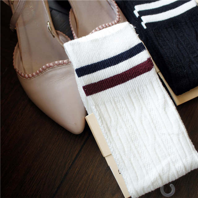 70009ac00 placeholder PF Twist Vertical Stripes Stockings Women Socks Retro Cotton  Hemp In Knee Socks Multicolor Skarpety High