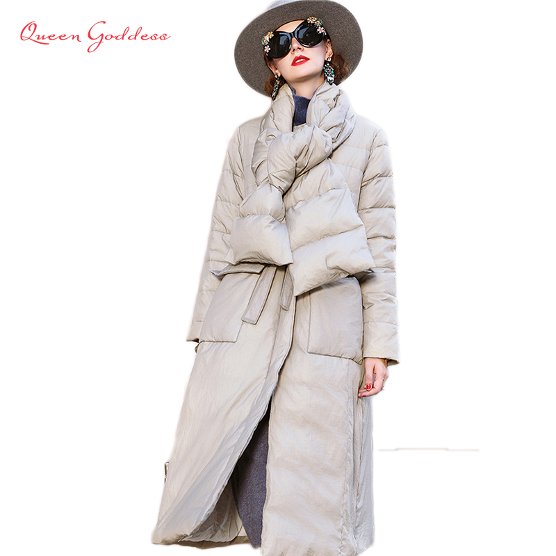 2019 Winter&Autumn New Fashion List Women Long Down Jacket Warm&Elegant Parkas Super Long&Thicken 100% Nylon Fabric Skirt Type