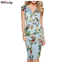 Oxiuly 50s Styles Floral Print Women Dress Plus Size 5XL Elegant Work Business Casual Dresses Summer