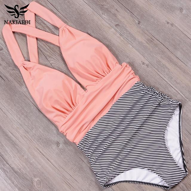 NAKIAEOI 2019 sexy nowy jednoczęściowy strój kąpielowy plus rozmiar stroje kąpielowe kobiety wysokie zwężone stroje kąpielowe Beachwear backless pływać Wear S ~ 2XL