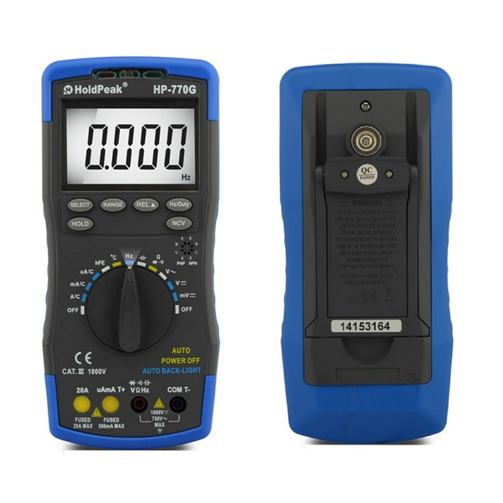 Auto Ranging Multimetro HoldPeak HP-770G Digital Multimeter DMM DC AC Voltage Current Temperature Meter Tester Diode bside adm04 lcd digital multimeter mini pocket 2000 counts dmm dc ac voltage current meter diode tester auto ranging multimetro