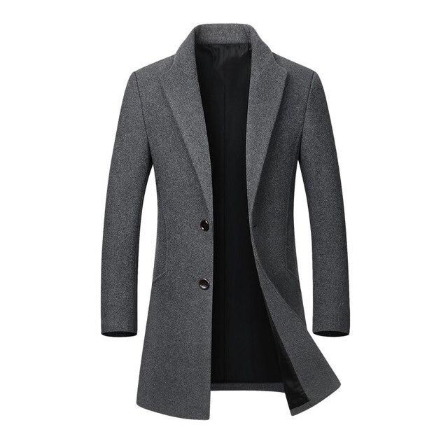 Männer Jacke Warme Winter Graben Mantel Lange Outwear Taste Mantel Männlichen Casual Windjacke Mantel Jacken mäntel Wolle-mischungen