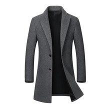 Мужская куртка теплая зимняя Тренч Длинная Верхняя одежда на пуговицах пальто Мужская Повседневная ветровка пальто куртки пальто шерсть