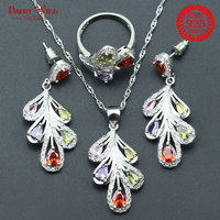 Bridal Jewelry Sets Zirconia Stone Earrings For Women Wedding 925 Sterling Silver Multi Gems Jewelry Ring Pendant Necklace Set
