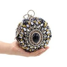 LLJUNDUI HEIßER!! frauen Rund Diamanten besetzte EveningBags Perlen Diamant Abendtasche Braut Hochzeit Handgelenk Clutch Geldbörse Handtasche