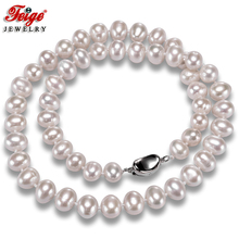 White Natural Pearl Necklaces for Women Fine Jewelry 8-9MM Freshwater Pearls Chorker Necklace Wedding Jewelry FEIGE [zhixi] maxi natural pearl necklace fine jewelry white natural freshwater pearl chokers necklaces women gift for new year r13