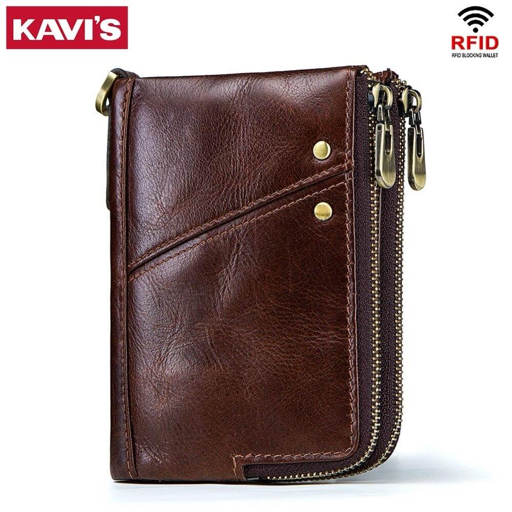 KAVIS Rfid 100% Echte Crazy Horse Leder Brieftasche Männer Kleine Walet Portomonee Männlichen Cuzdan Kurze Geldbörse PORTFOLIO Karte Halter