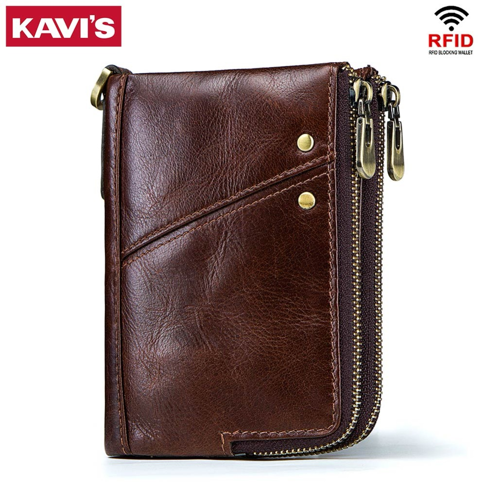 KAVIS Rfid 100% Genuine Crazy Horse Leather Wallet Men Small Walet Portomonee Male Cuzdan Short Coin Purse PORTFOLIO Card Holder gzcz genuine leather wallet men zipper design bifold short male clutch with card holder mini coin purse crazy horse portfolio