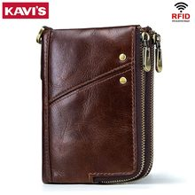 KAVIS Rfid 100% Genuine Crazy Horse Leather Wallet Men Small Walet Portomonee Male Cuzdan Short Coin Purse PORTFOLIO Card Holder(China)