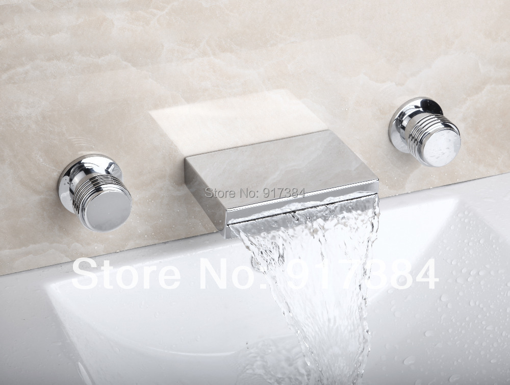Waterfall  Ceramic  Double Handles Deck Mounted Bathroom Bathtub Basin Sink Mixer Tap 3 pcs Chrome Faucet Set FG-3122 deck mounted bathroom basin sink bathtub