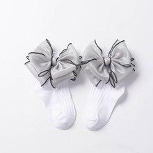 2019Children Socks Bows lace Girls Ankle Socks Striped Baby Sock For Girls Princess Socks Cotton Kids School Sweet 1 8Year old-in Socks from Mother