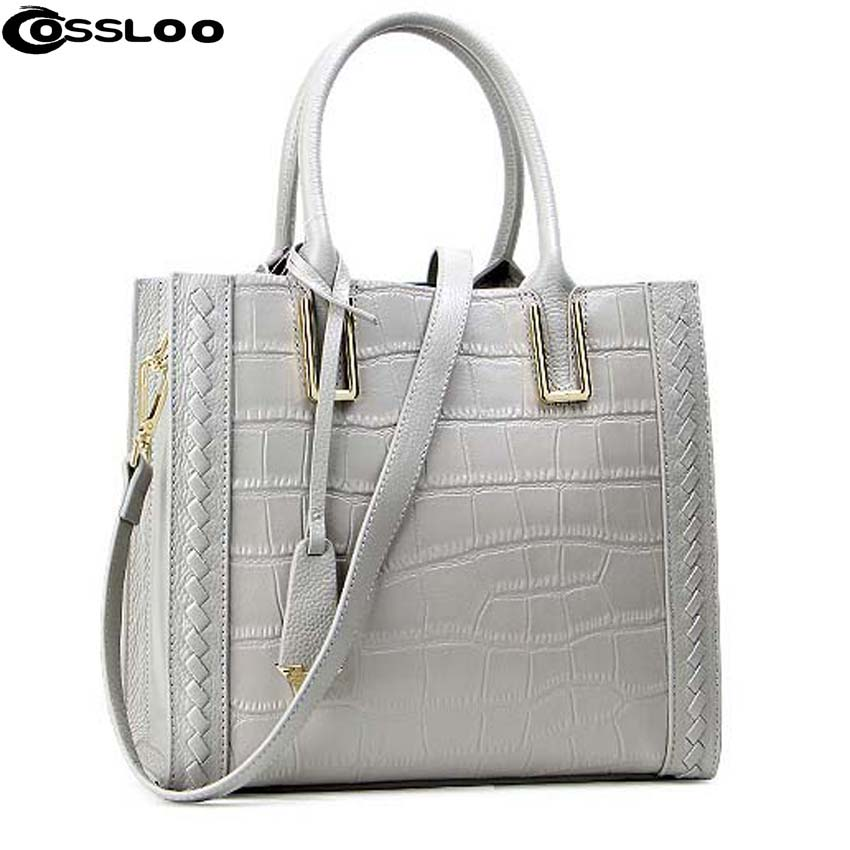 COSSLOO 2018 Genuine Leather bag Women Handbag Tote Ladies Style Women messenger bags Crocodile pattern famous designer brand fashion style women crocodile pattern doctor women backpack famous bags women s pu leather rucksack bag z762