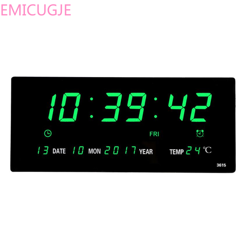 Plugin Alarm Clock Livingroom 6 Digits Led Calendar Wall Clock With Thermometer Power Off Time Memory Clock Big Numbers