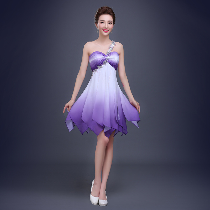 MDBRIDAL Purple Ombre Prom Dresses with Beading One Strap Chiffon ...