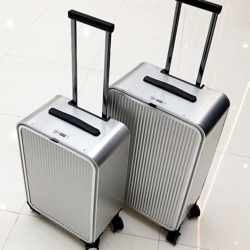 All Aluminum side open luxury rolling luggage men business computer suitcase women metal password trolley case