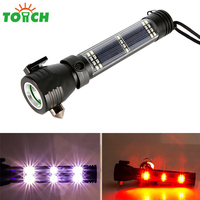 Tactical solar flashlight led rechargeable USB power bank torch light alarm lamp car emergency firefighting hammer compass