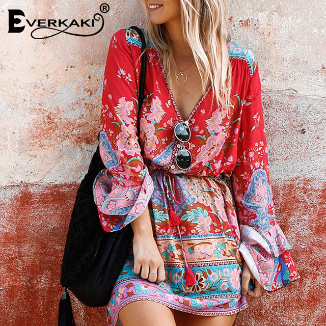 9feccbc30c8 Everkaki Gypsy Collective Lotus Gown Boho Style Short Dress V Neck High  Waist Flare Sleeve Print Dresses SpellDesign And Gyps