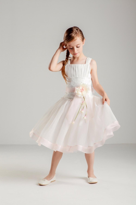 Vestido Sweet Pleated Straps A Line Short Tulle Flower Girl Dress