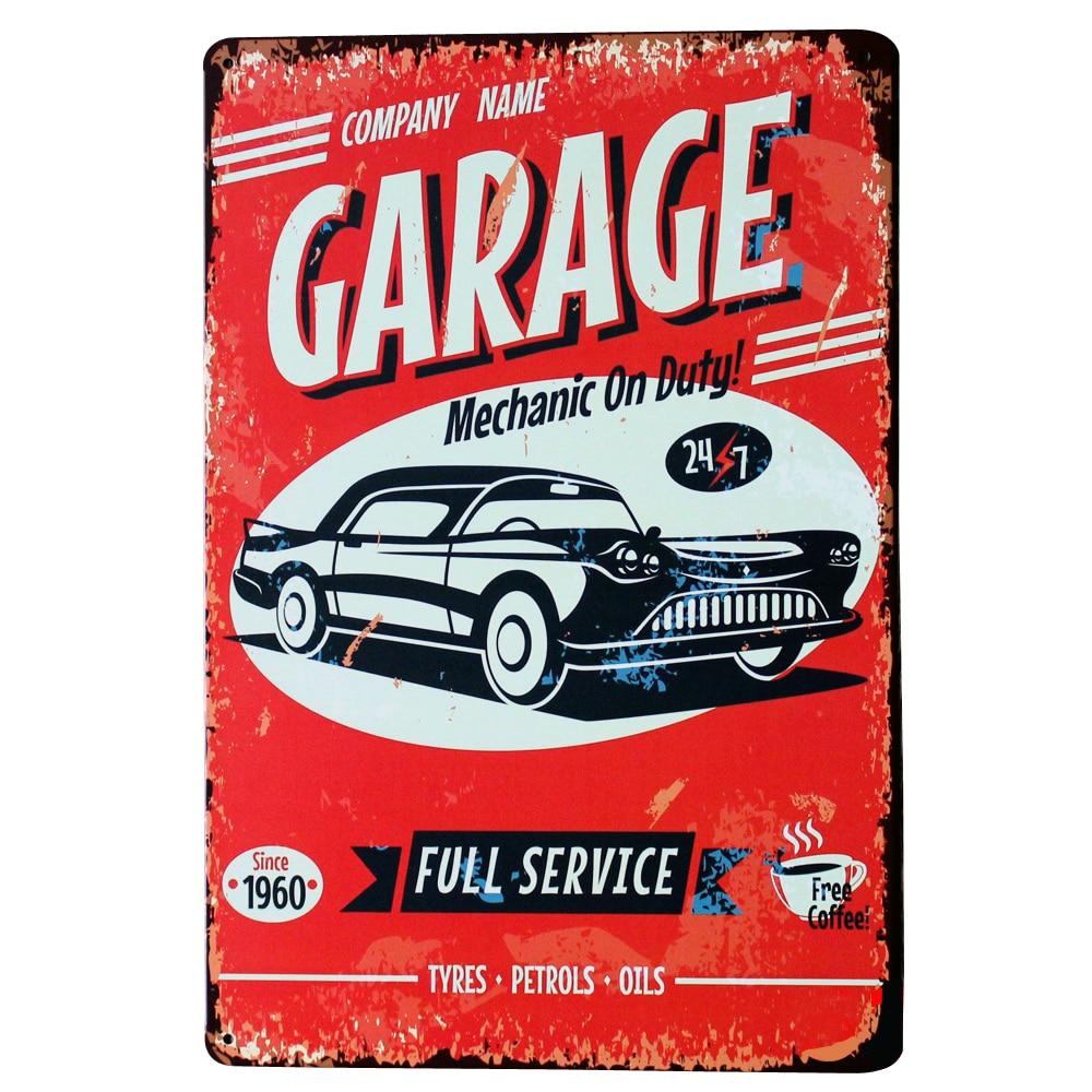 buy garage mechanic metal tin plaque retro car sign decor plate full service. Black Bedroom Furniture Sets. Home Design Ideas