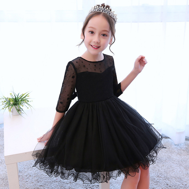 Black Fashion Girl Dresses 5 13 Years Old Birthday Party Tutu Dress Teenager Girls Prom