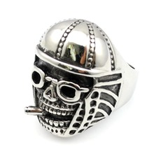 Fashion Stainless Steel Olives Cap Skull Ring Men's Punk Skull Cool Wearing Sunglasses Jewelry,AR373