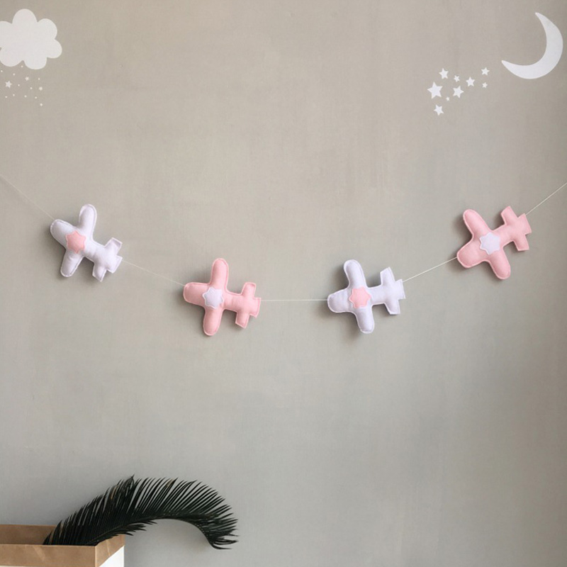Airplane Party Banner Kids Room Nursery Hanging Wall Decor Christmas Baby Room Bunting Ornament E2S