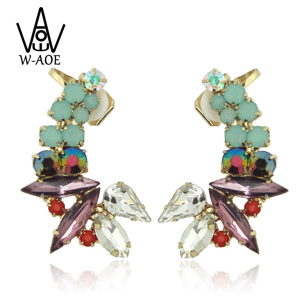 ae55955ad5b3 1 par 2017 nueva moda de lujo roja Crystal Ear cuff Pendientes para mujeres  chica rhinestone Pendientes de clip earcuff del regalo del partido