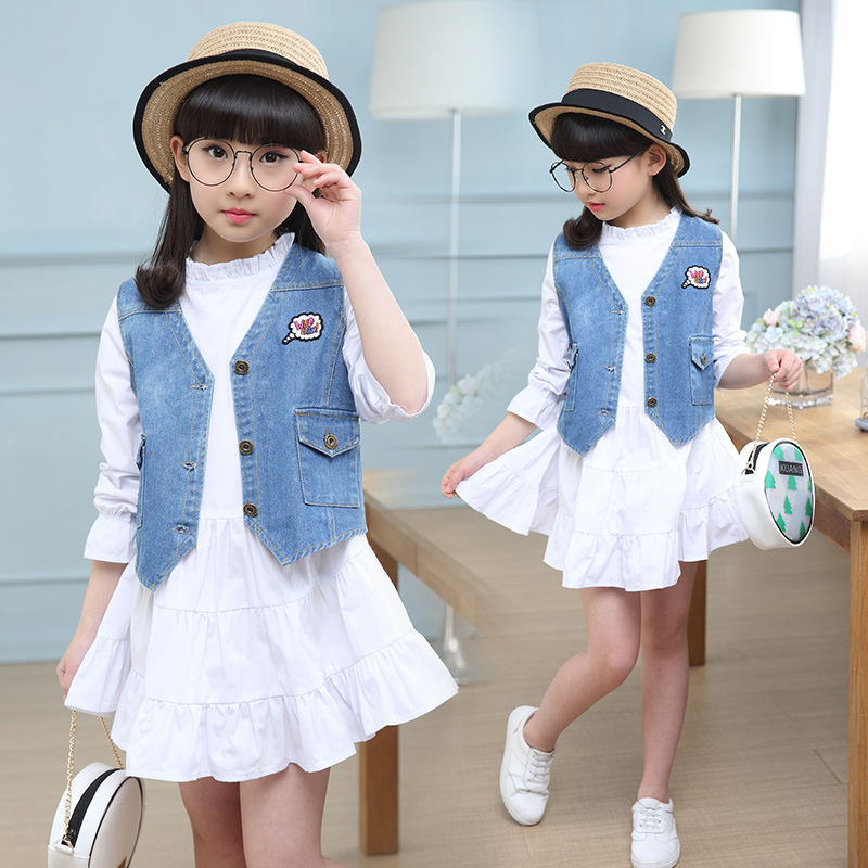 Children's autumn 2017 new girl long sleeve dress + vest two suit skirt sets princess children clothing sets 5 6 7 8 9 10 11 12Y le suit new vanilla textured straight skirt 12 $89 dbfl