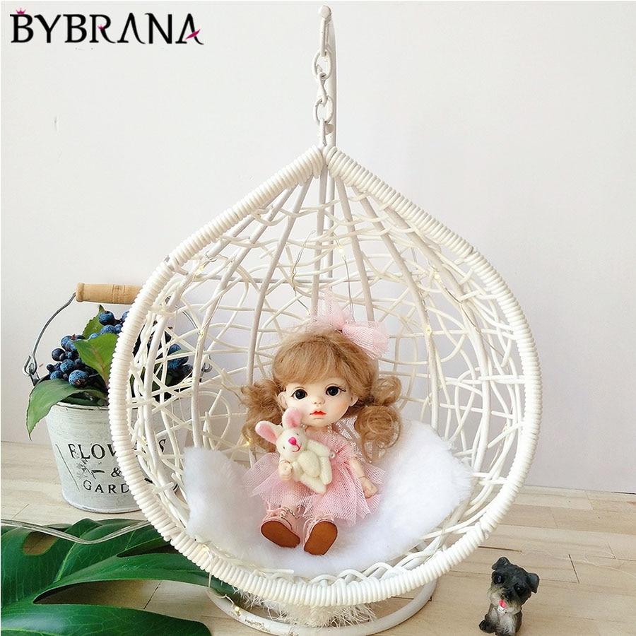 Bybrana Fashion White 1/6 1/8 1/12 Bjd Doll Hanging Basket