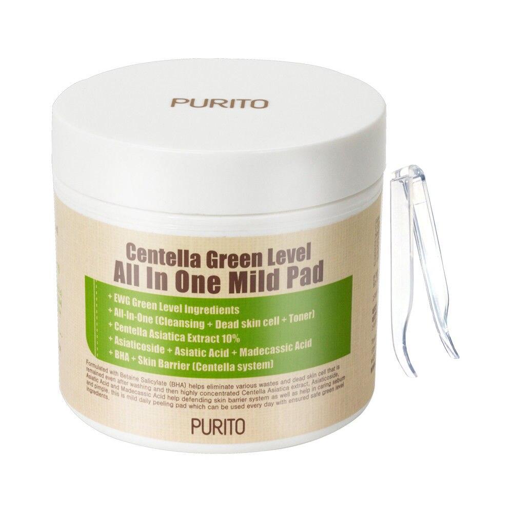 PURITO центеллы Зеленый уровень все в один мягким Pad 70 шт. лица Очищающая маска остатки макияжа угри акне удалить уход за лицом Pad