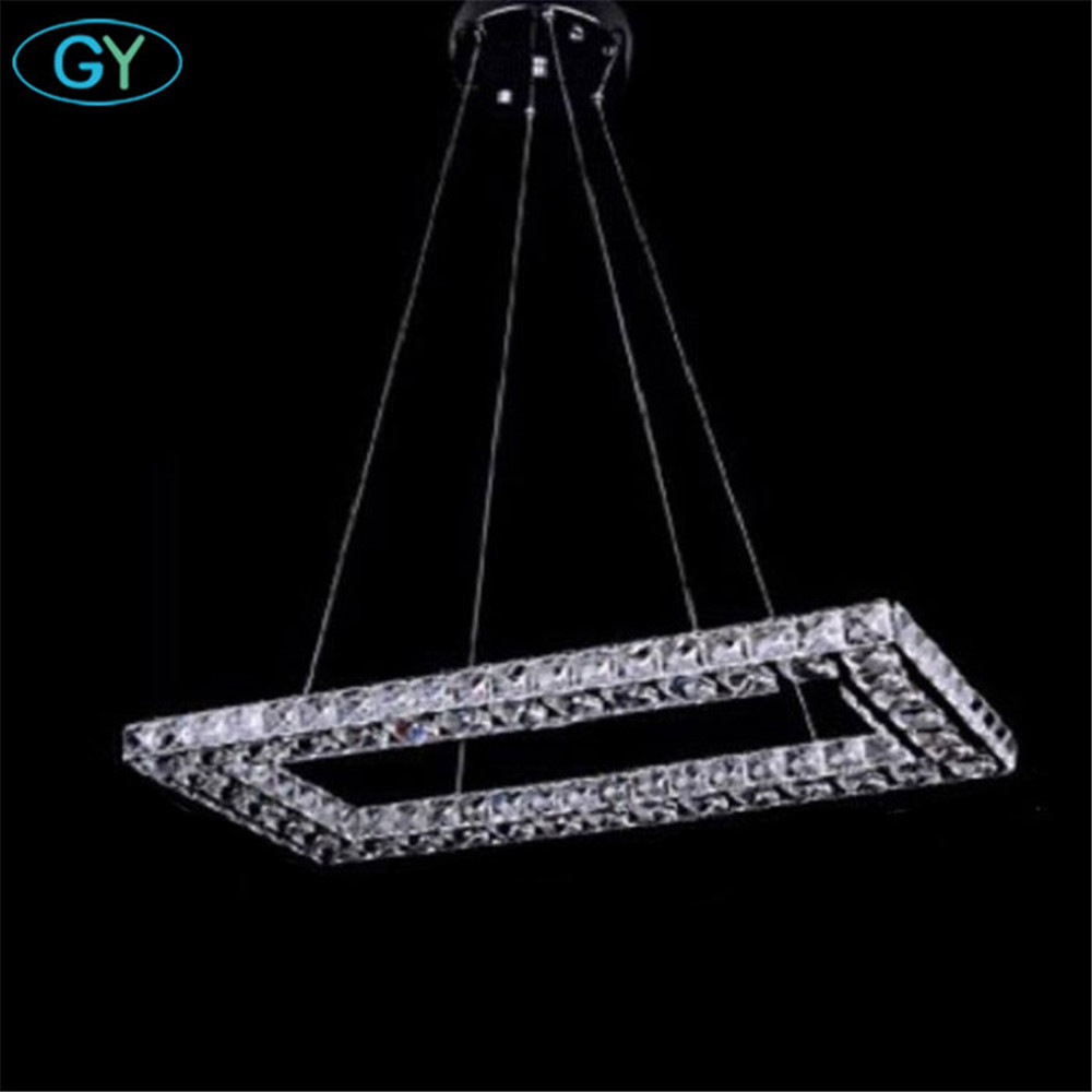 2018 New Arrvial Rectangle led crystal chandeliers modern stainless steel + clear crystal lustres lamp LED luminaires fixture yoursfs love you forever white gold plated heart in circle pendant necklace with austrian crystal open heart silver necklace wo