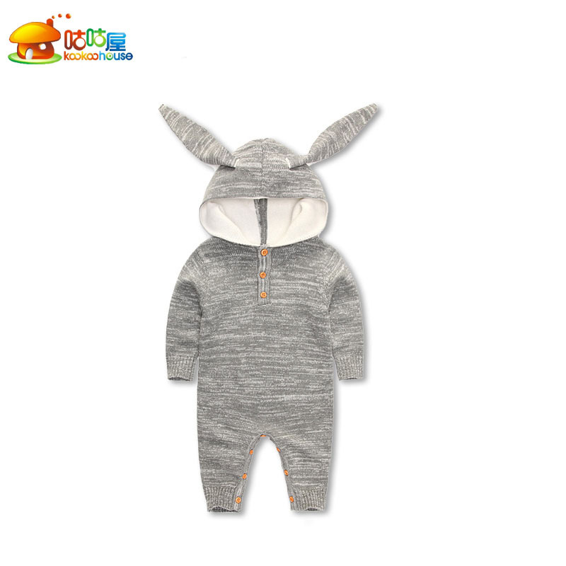 KIKIKIDS Baby Boys& Girls Rabbit & Deer Pattern BodySuit with Long Sleeve & Hat, Kids Long Sleeve Jumpsuit, price only for 1pcs fashion handpainted palm sea sailing pattern hot summer jazz hat for boys